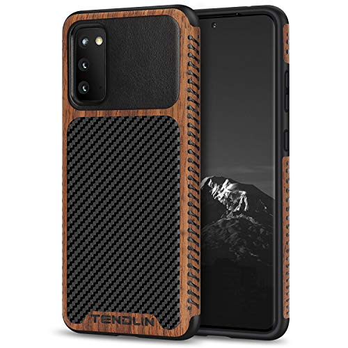 TENDLIN Compatible with Samsung Galaxy S20 Case Wood Grain with Carbon Fiber Texture Design Leather Hybrid Case