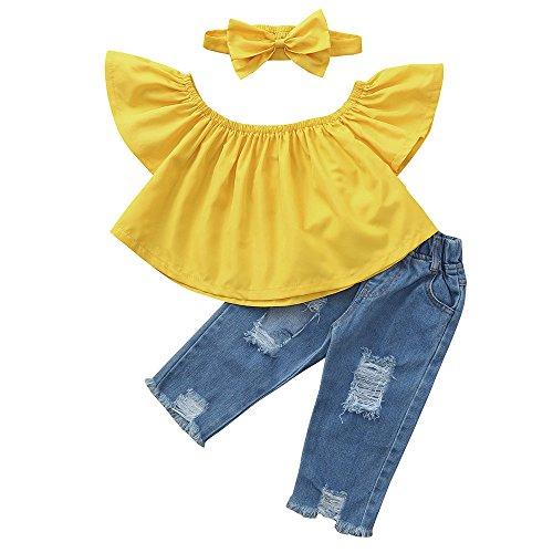 Top Daoope Abbigliamento Bambino Estate Abiti Cerimonia Bambino 1 2 3 4 7 8 Anni Vestiti Completino Bambino Ragazza Buco Cowboy Jeans Capelli Hoop Set