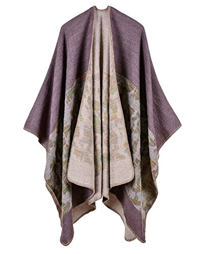 Qitun Women Camouflage Super Long and Thick Cape Oversized Knit Scarves Wraps Poncho Coat Outwear Jacket Cloak Helles Lila
