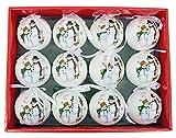 Bolas de Navidad de plástico, 6 cm, 12 unidades, diseño de muñeco de nieve Let it Snow