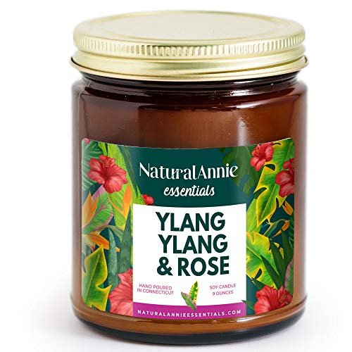 NaturalAnnie Essentials Apothecary Amber Jar YLANG YLANG & Rose Soy Candle 9oz- Scented Candle.