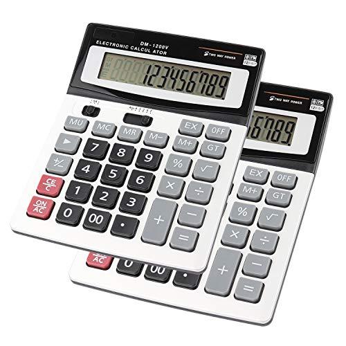 HIHUHEN Taschenrechner, Geschäft Standard-Taschenrechner Dual-Power (Solar und Batterie) Tischrechner (2 x Calculator)