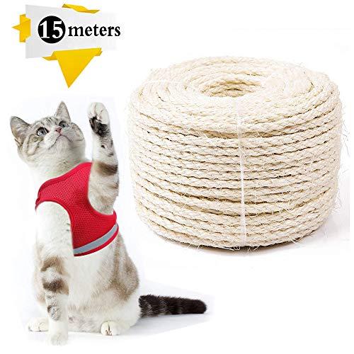 Cuerda de Sisal Gatos,Cuerda de Sisal 6mm,Cuerda de Sisal,Cuerda de Reemplazo para Arañar Reparar, Juguete de Mascotas, Accesorios de Bricolaje Manualidades (15m, 6mm)