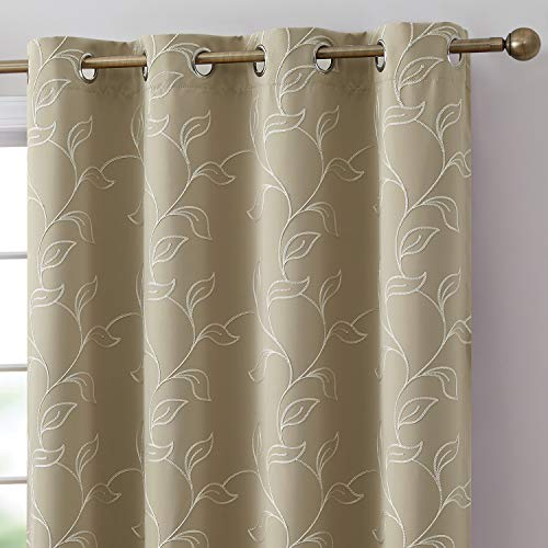 HLC.ME Carol Floral Decorative Embroidered Pattern Thermal Insulated Blackout Room Darkening Energy Savings Soundproof Window Curtain Grommet Panels for Bedroom, Set of 2 (52 W x 84 L Long, Taupe)