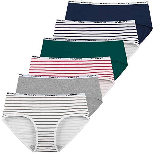 INNERSY Damen Unterhosen Baumwolle Taillenslips Mädchen Streifenmuster 6er Pack (38, Mehrfarbig Streifen)