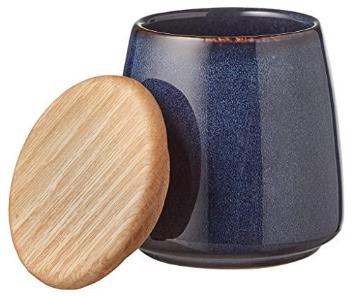 BITZ Vorratsbehälter, Praktische Aufbewahrungsdose aus Steinzeug mit Holzdeckel, Höhe 12 cm, Dunkelblau