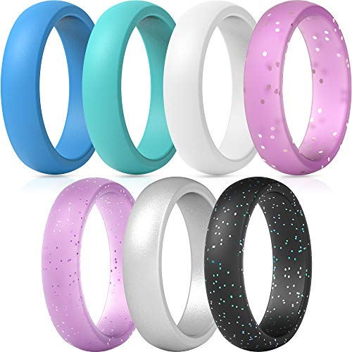 ThunderFit Silicone Wedding Band for Women - 5.5mm Wide - 2mm Thick (Light Blue, Teal, White, Pink with Glitter, Light Pink with Glitter, Silver, Black with Teal Glitter - Size 6.5-7 (17.3mm))