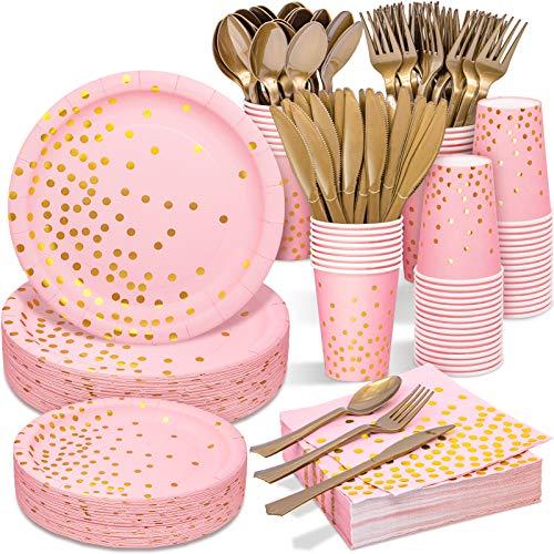 Suministros de fiesta rosa y dorados, juego de vajilla desechable, 350 piezas, platos de papel rosa, servilletas, vasos, tenedores de plástico dorado, cuchara para cumpleaños, baby shower, boda, día de San Valentín, día de la mujer, día de la madre
