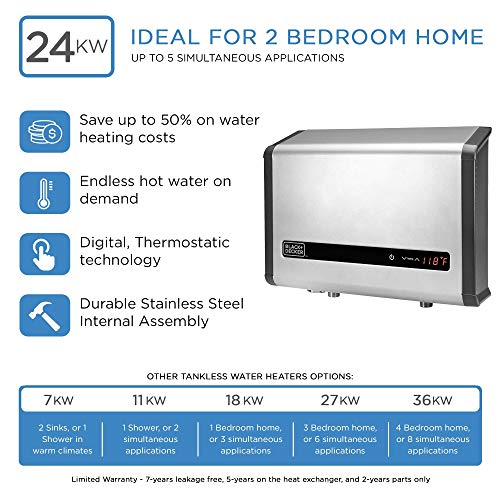 BLACK+DECKER Black+Decker 24 kW Self-Modulating 4.68 GPM Electric Tankless Water Heater, Multi-Application hot water heater electric