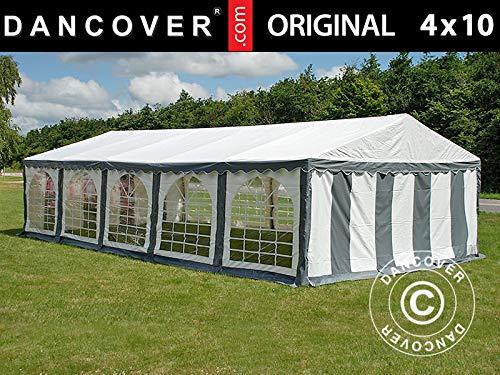 Dancover Partyzelt Pavillon Festzelt Original 4x10m PVC, Grau/Weiß