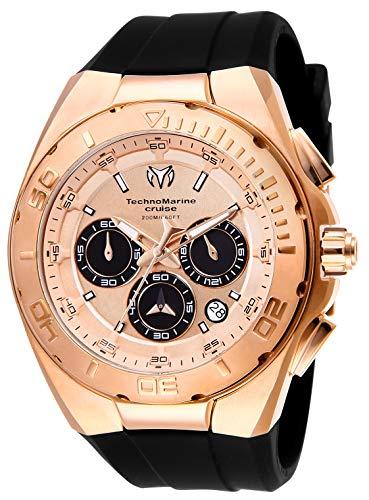 Technomarine Men's Cruise Stainless Steel Quartz Watch with Silicone Strap, Black, 29 (Model: TM-115346)