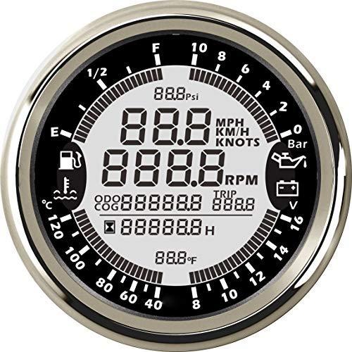 ELING 6-in-1 Multi-Functional Gauge Meter GPS Speedometer Tachometer Hour Water Temp Fuel Level Oil Pressure Voltmeter 10Bar 12V 3-3/8' with Backlight