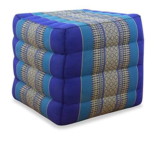 livasia LAGERUNGSWÜRFEL UND SITZHOCKER, Thaikissen der Marke, Lagerungswürfel, Bandscheibenwürfel, Stufenlagerungswürfel, Asiatischer Sitzhocker, Würfelkissen (blau)