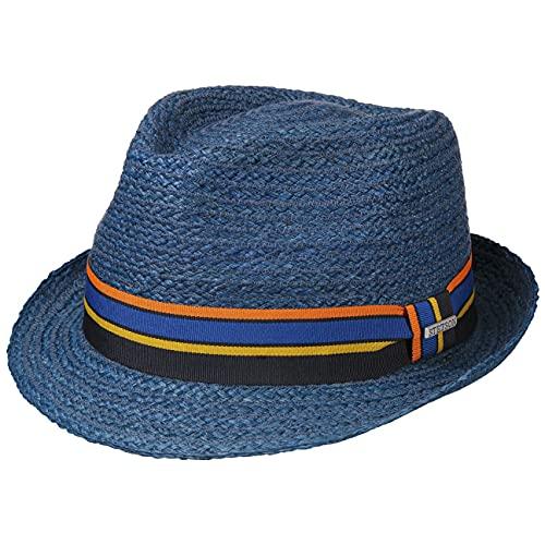 Stetson Sombrero de Rafia Cantalo Trilby Mujer/Hombre - Verano Paja Sol con Banda Grosgrain Primavera/Verano - XXL (62-63 cm) Azul