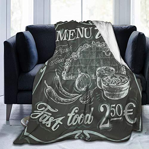 JISMUCI Manta de Franela Suave,Logotipo de Comida Fresca Mexicana de Estilo Vintage con diseño de menú de Burrito de maíz y Chile,Cama de Camping para sofá 153x127cm