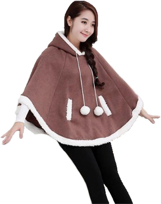 Angel&Lily Brown Women jersey fleece Cape Hoodie COAT LS337 PLUS 4X