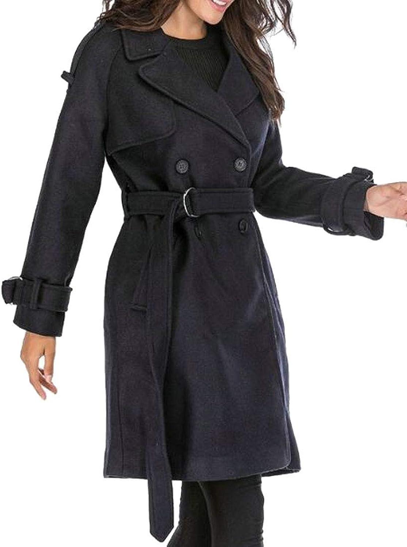 Nanquan Women Long Sleeve Belted DoubleBreasted Lapel Pea Coat Overcoat