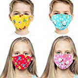 Kids Reusable Washable Face Mask - 3 Layer Face Protection Cover for Children - Made Of Premium Soft Cotton (Pack of 4,Multi Color), shipped from UK