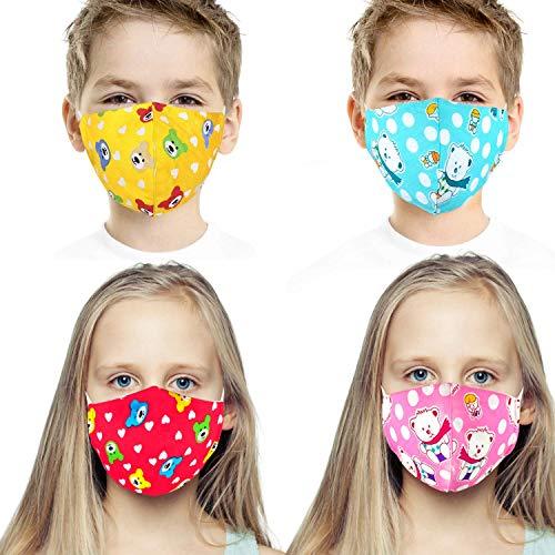 HUBEN Wiederverwendbare Waschbare Gesichtsmaske Für Kinder - 3-Lagige Gesichtsschutzhülle Für Kinder - Aus Hochwertiger Weicher Baumwolle |Mehrfarbig|