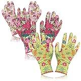 com-four® 3X Paar Gartenhandschuhe in Größe M - Schutz-Handschuhe im Blumen-Design mit Gummibeschichtung [Auswahl variiert] (03 Paar - grün/rosa - M)