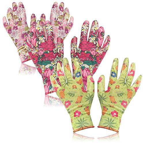 com-four® 3X Par de Guantes de Jardinería en Talla M - Guantes Protectores en Diseño Floral con Revestimiento de Goma [Selección Varía] (03 Pares - Verde/Rosa - M)