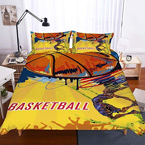 ZHYY 3D Home textiel Basketbal Beddengoed Set Print Dekbedovertrek set Basketbal Shooting Action Serie Bedkleding met kussensloop bedset Boy Gife QQ46