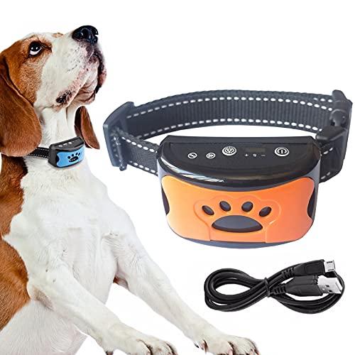 Collar Antiladridos de Perro Recargable, para Medianos Grandes Sonido Humano,Ajustable y Modo de Vibración,para Entrenar Perros Ajuste de Sensibilidad de 7 Niveles- Orange
