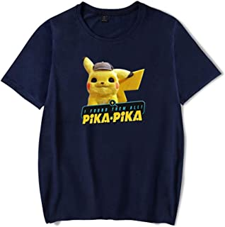 f0f988b2 Fashion Unisex Pokémon Detective Pikachu T Shirt,Funny Vintage Graphic  Summer Casual Short Sleeve Top