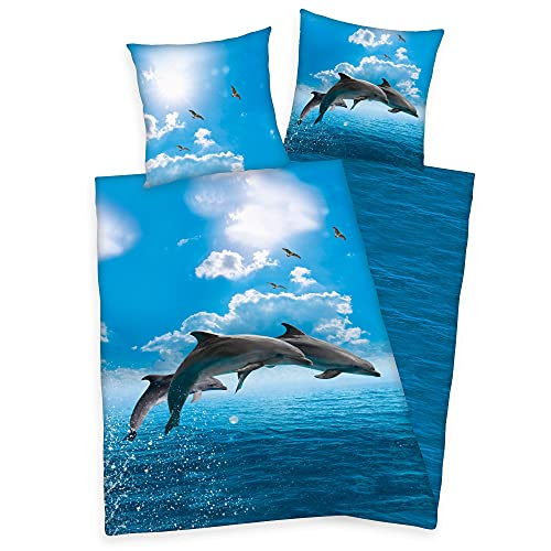 Klaus Herding GmbH Delphin Bettwäsche Set Delfin 2tlg. 135x200 cm 100% Baumwolle