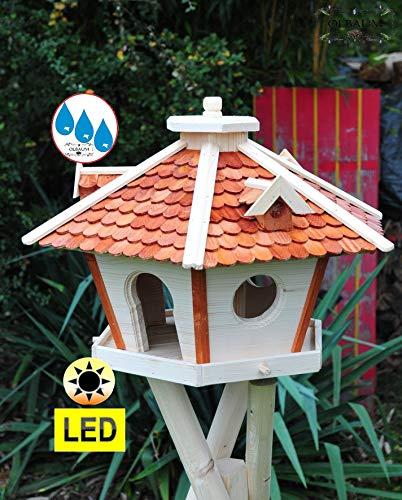BTV Holz-Vogelhaus-Futterhaus,Premium WETTERFEST, mit Silo,Futtersilo für Winterfütterung,mit Beleuchtung LED-Licht, Vogelhäuser Futterstation Vogelvilla mit Schindeldach Hellbraun braun SRL60heOS