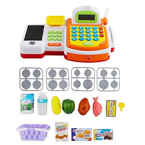deAO Caja Registradora Electrónica de Juguete con Micrófono, Cinta y Lector de Tarjetas Conjunto de Accesorios de Tienda y Supermercado Infantil Incluye Alimentos de Juguete (Amarilla)