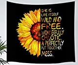 60x40, Sunflower Wall Tapestry Natural Floral Print Oil Painting Artwork With Half Sunflower Half Motivational Words Tapestry Wall Hanging Home Decor for Living Room Bedroom Wall Blanket