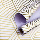 "White/Gold Geometric Hexagon Stripe Contact Paper self-Adhesive Removable Wallpaper Matte Hexagonal Geometric Texture self-Adhesive Decorative Paper Shelf Paper and Drawer Back Paper 17.71"" x 118"""