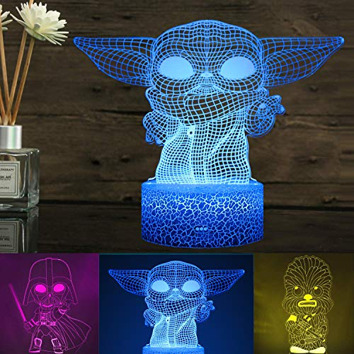3D Illusion Star Wars Night Light for Kids, XXMANX 3 Pattern and 16 Color Change Decor Lamp Star War Toys and Gifts for Boys Girls and Any Star Wars Fans