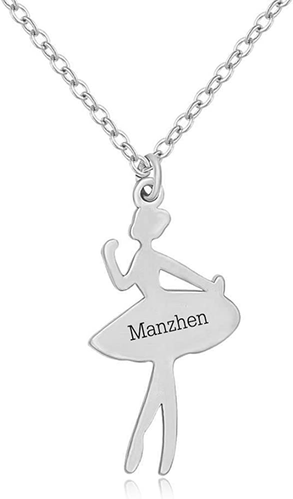 MANZHEN Custom Name Ballerina Dancer Recital Gift Ballet Dance Pendant Necklace Made Any Name