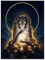DIY5Dダイヤモンド絵画-ライオン-動物-ダイヤモンド絵画コンプリートキット クリスタルラインストーン刺繡アートクラフトギフト家の装飾16×20インチ