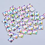 Xuccus JUNAO 8 10 12 14 16 mm Aquamarine Square Crystals Rhinestones Flat Back Acrylic Stones Non Hot Fixation Strass for Decoration - (Color: Clear AB, Size: 8mm 500pcs)