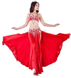 Belly Cosplay Set,dancer Bras Skirt Beaded Bra Costume Winter Belly Dance Suit Adult Female (Color : Red, Size : M)