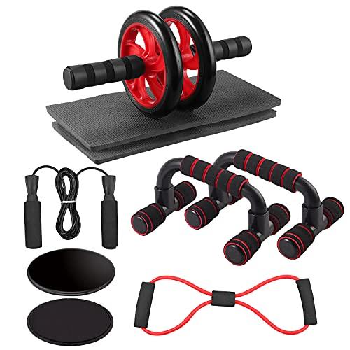 Kit de Fitness Abdominal Ab 5 en 1 Rueda Abdominal Barras para Flexiones Cuerda para Saltar Banda de Resistencia Discos Deslizantes Almohadillas para Rodillas para Entrenamientos en Casa Oficina