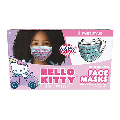 Just Play Children's Single Use Face Mask, Hello Kitty, 14 Count, Small, Ages 2 - 7, Multi-Color