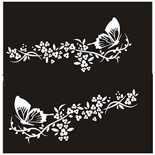 Calcomanías para automóviles, calcomanías de decoración de mariposas, rayones en la cubierta, calcomanías reflectantes para automóviles modificadas en la cola de la puerta del cuerpo (2 pares)