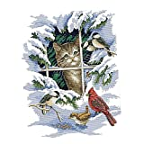 F Fityle Kreuzstich Stickerei DIY Handarbeit Stickpackung Set, Katze und Vogel, Stickbild Stickvorlage vorgedruckt Sticken Stickset Handwerk - 11CT 39 × 47 cm