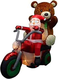 Home Accents Holiday 6.5 ft. Pre-lit Inflatable Santa with Teddy Bear on Motorcycle Airblown Scene