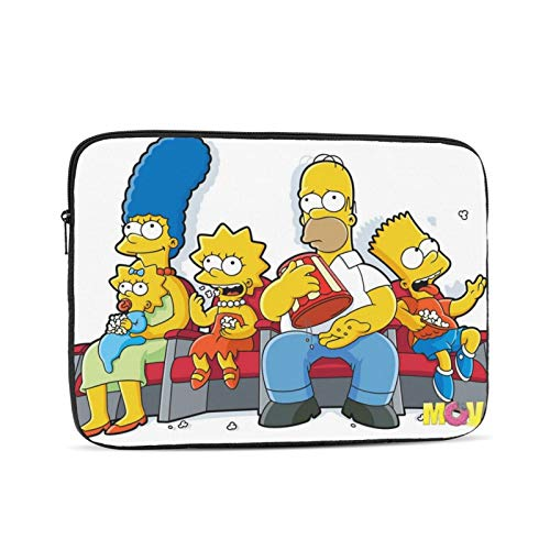 TV Show Simpsons Laptop Sleeve 3D Printing Polyester Waterproof Shock Resistant with Zipper Protective Case,Compatible Satchel Tablet Carrying Sleeve 15 inch