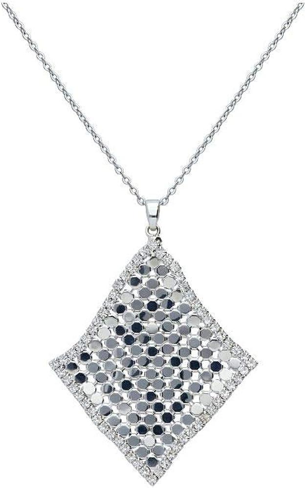Stroili collana girocollo per donna con strass con pendente a forma di rombo in metallo rodiato color argento 1666155