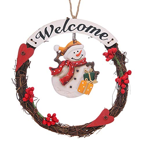 Yuanshenortey Christmas Wreaths for Front Door Hanging Pendant Ornament Festival Decorative Accessories