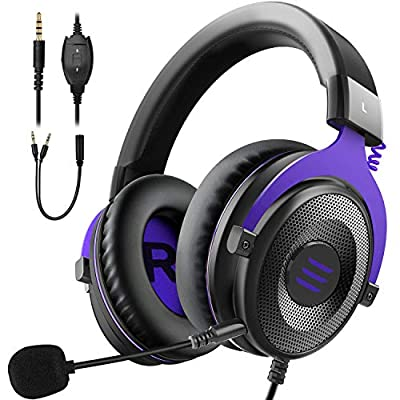EKSA Gaming Headset PC Headset Surround Sound Headset with Soft Memory Earmuffs for PS4 PS5 Detachable Noise Cancelling Microphone Volume Control for Xbox One S/X PS4 PC Mac Laptop Switch by EKSA
