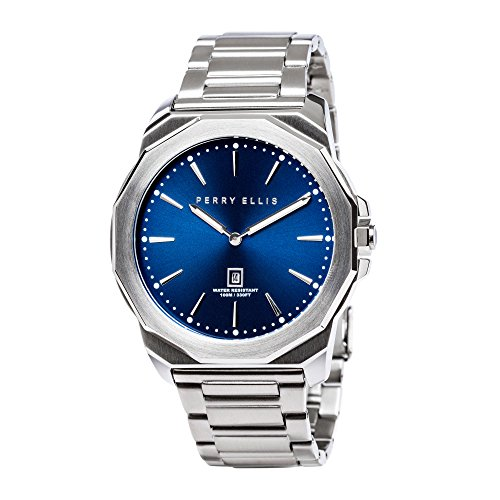 Perry Ellis Men Watch Quartz Luminous Watch with Date Stainless Steel Blue Dial 08002-02
