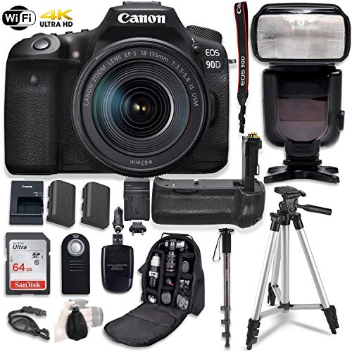 Canon EOS 90D Digital SLR Camera & 18-135mm USM Lens Bundle with Battery Grip & Professional Accessory Bundle (16 Items)