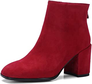 BalaMasa Womens Fashion High-Heels Solid Leather Boots ABM13593